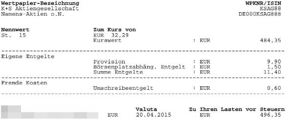 Abrechnung Kauf K+S Aktien
