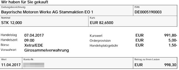 Abrechnung Kauf BMW Aktien