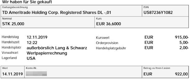 Abrechnung Aktienkauf TD Ameritrade Holding