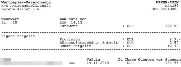 Abrechnung Aktienverkauf K+S