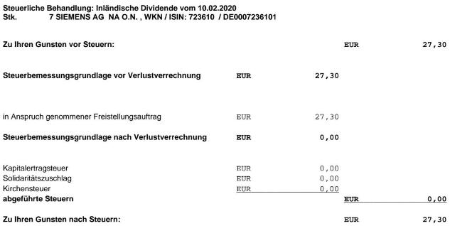 Abrechnung Dividende Siemens