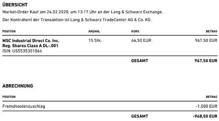 Abrechnung Aktienkauf MSC Industrial Direct