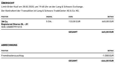 Abrechnung Aktienkauf 3M