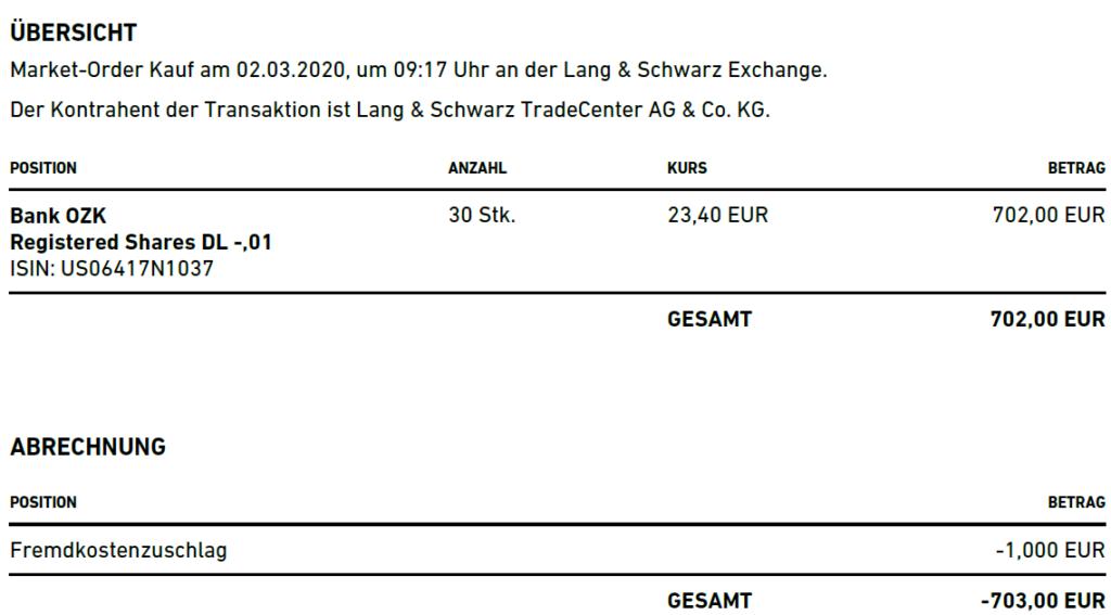 Abrechnung Aktienkauf Bank OZK