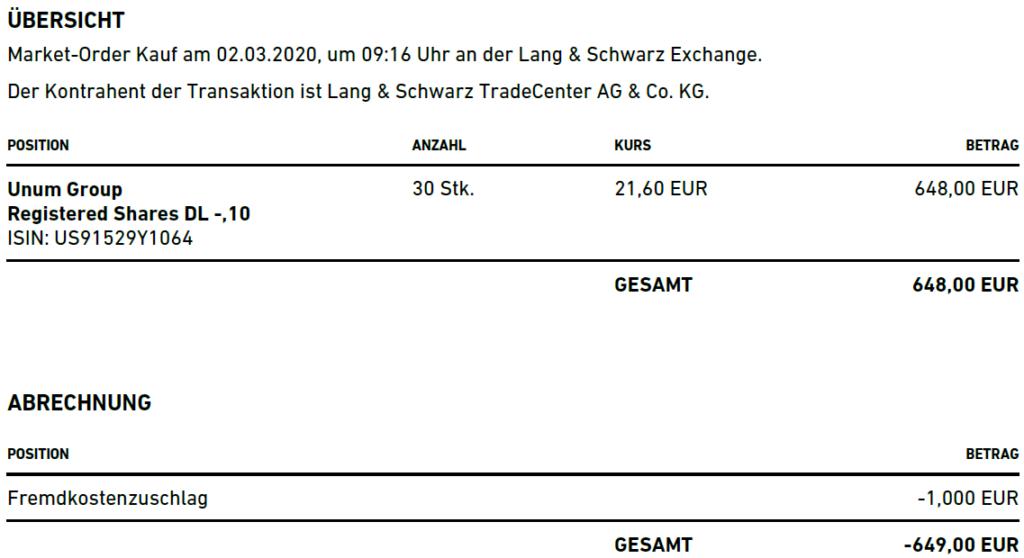 Abrechnung Aktienkauf Unum Group