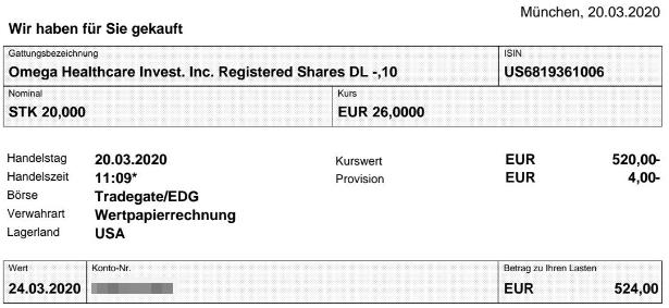 Abrechnung Aktienkauf Omega Healthcare Investors