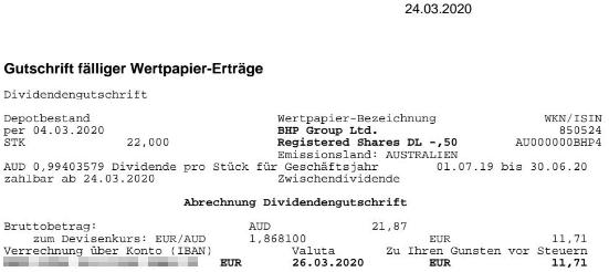 Abrechnung Zwischendividende BHP Group März 2020