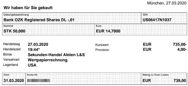 Abrechnung Aktienkauf Bank OZK vom 27.03.2020