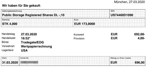 Abrechnung Aktienkauf Public Storage vom 27.03.2020