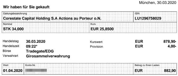 Abrechnung Aktienkauf Corestate Capital Holding vom 30.03.2020