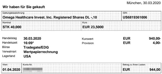 Abrechnung Aktienkauf Omega Healthcare Investors vom 30.03.2020