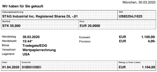 Abrechnung Aktienkauf STAG Industrial vom 30.03.2020
