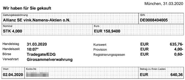 Abrechnung Aktienkauf Allianz vom 31.03.2020