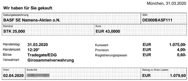 Abrechnung Aktienkauf BASF vom 31.03.2020