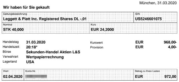 Abrechnung Aktienkauf Leggett & Platt vom 31.03.2020