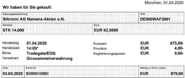 Abrechnung Aktienkauf Siltronic vom 01.04.2020