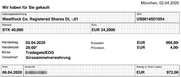 Abrechnung Aktienkauf Westrock vom 02.04.2020