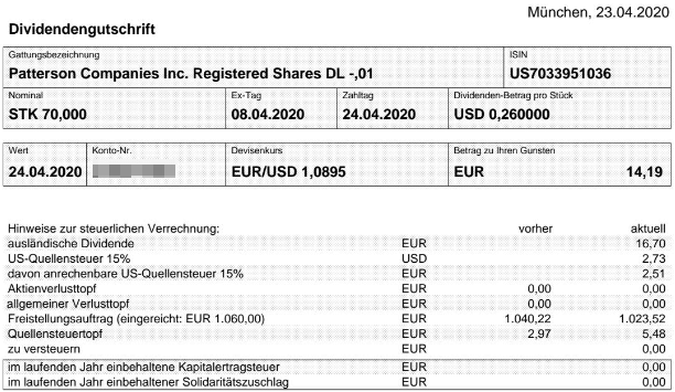 Abrechnung Patterson Companies Dividende April 2020