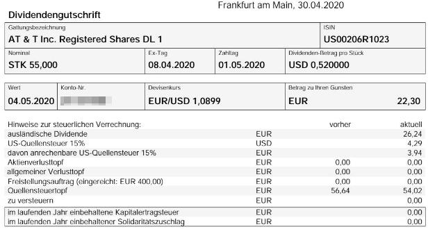 Abrechnung AT&T Dividende Mai 2020 bei onvista