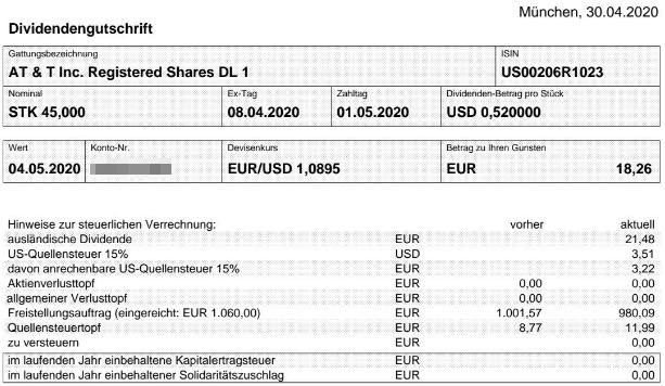 Abrechnung AT&T Dividende Mai 2020 bei smartbroker