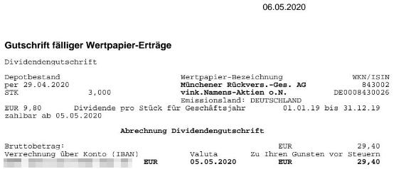 Abrechnung Münchener Rückversicherung Dividende 2020