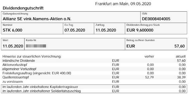 Abrechnung Allianz Dividende 2020 bei onvista