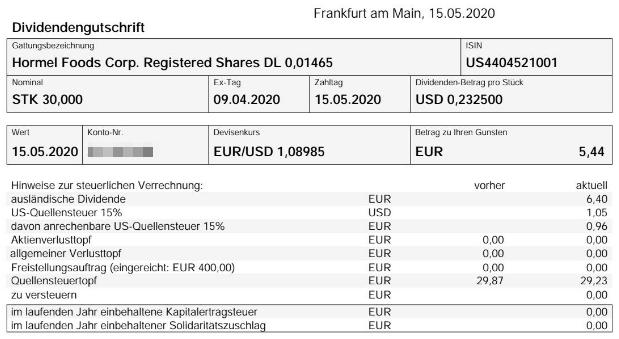 Abrechnung Hormel Foods Dividende Mai 2020