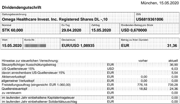 Abrechnung Omega Healthcare Investors Dividende Mai 2020