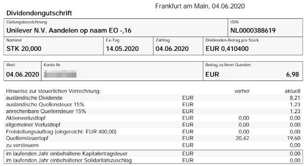 Abrechnung Unilever Dividende Juni 2020