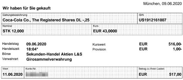 Abrechnung Kauf Coca-Cola Aktie vom 09.06.2020