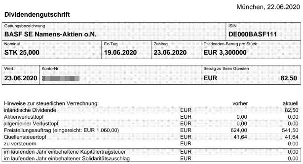 Abrechnung BASF Dividende Juni 2020 bei Smartbroker