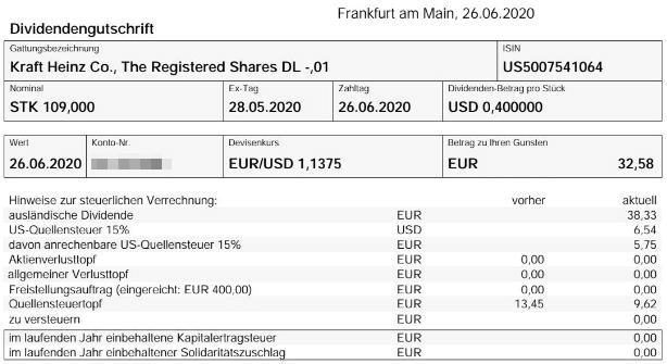 Abrechnung Kraft Heinz Dividende Juni 2020