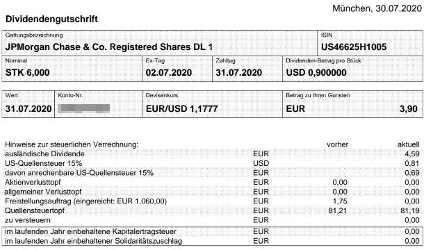 Abrechnung JPMorgan Chase Dividende Juli 2020