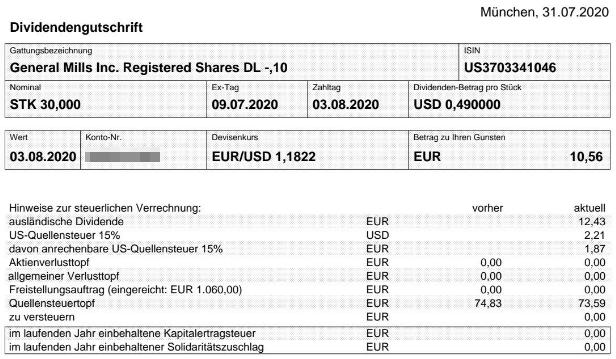 Abrechnung General Mills Dividende August 2020