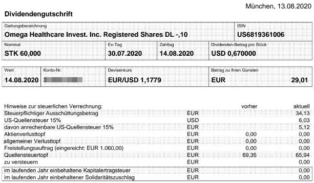 Abrechnung Omega Healthcare Investors Dividende August 2020