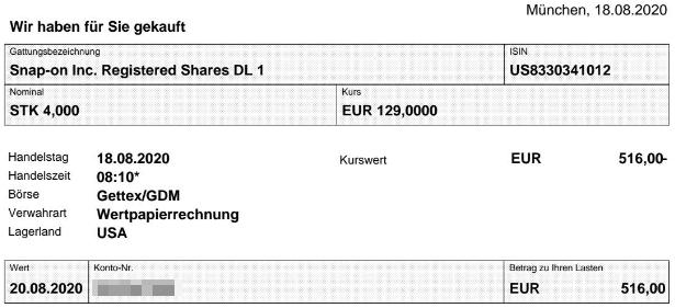 Abrechnung Kauf Snap-on Aktie vom 20.08.2020