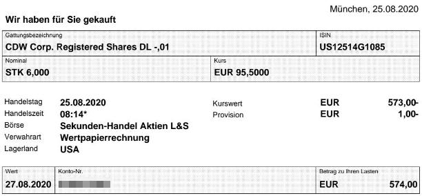 Abrechnung Kauf CDW Aktie vom 25.08.2020