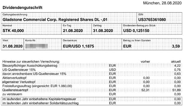 Abrechnung Gladstone Commercial Dividende August 2020