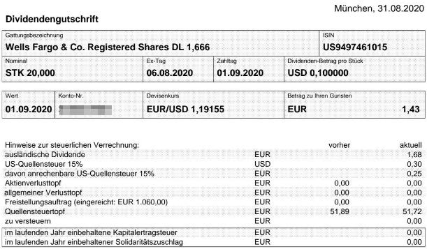 Abrechnung Wells Fargo Dividende September 2020