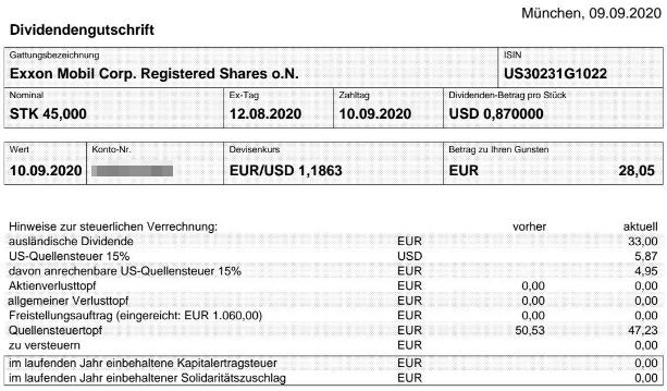 Abrechnung Exxon Mobil Dividende September 2020