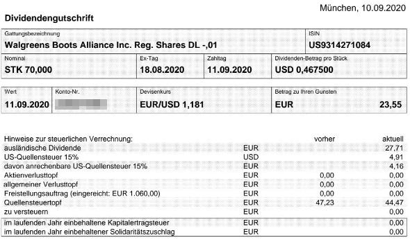 Abrechnung Walgreens Boots Alliance Dividende September 2020