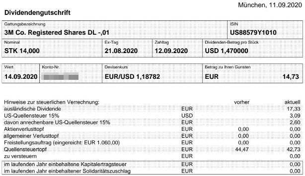 Abrechnung 3M Dividende September 2020