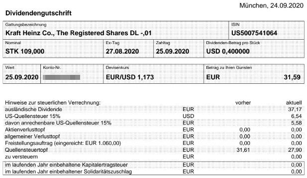 Abrechnung Kraft Heinz Dividende September 2020