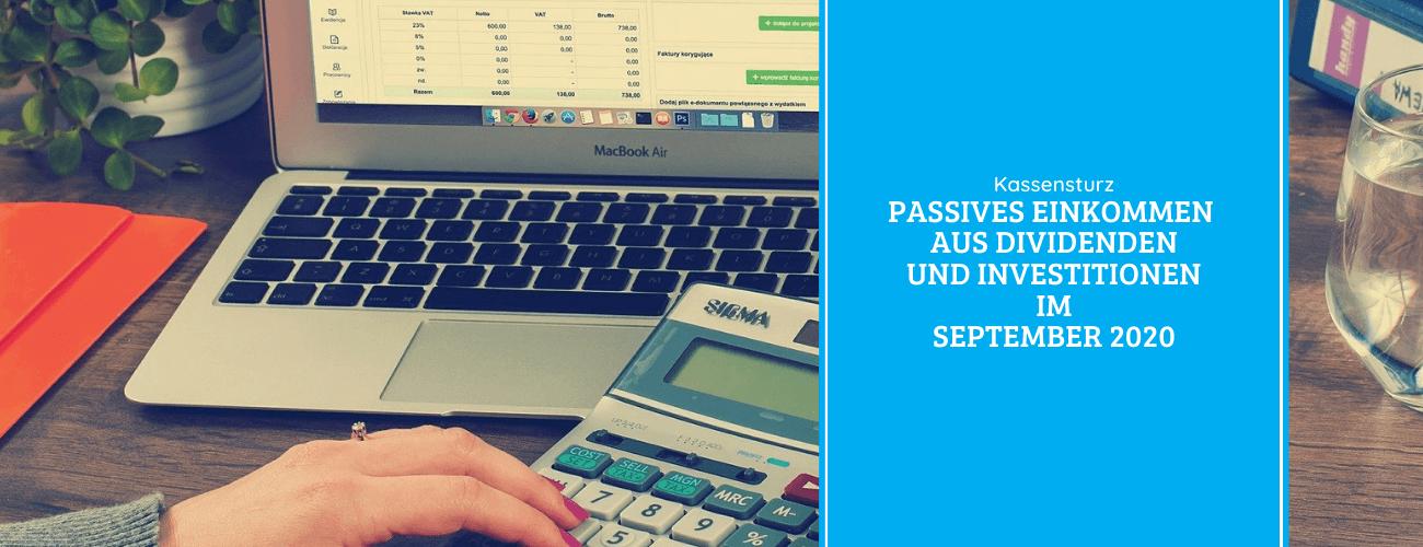 Passives Einkommen aus Dividenden und Investitionen im September 2020