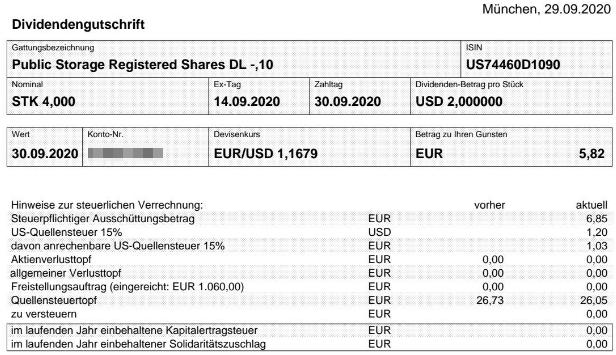 Abrechnung Public Storage Dividende September 2020