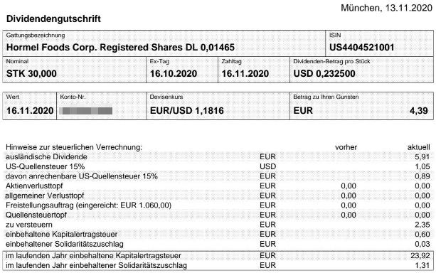 Abrechnung Hormel Foods Dividende November 2020