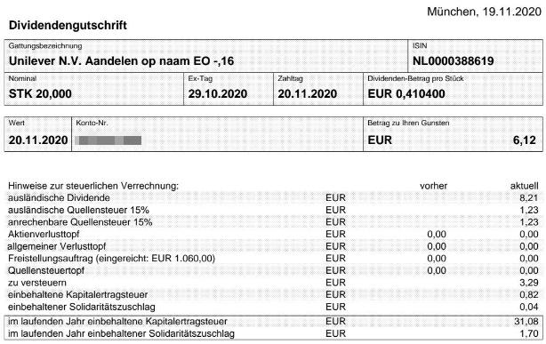 Abrechnung Unilever Dividende November 2020