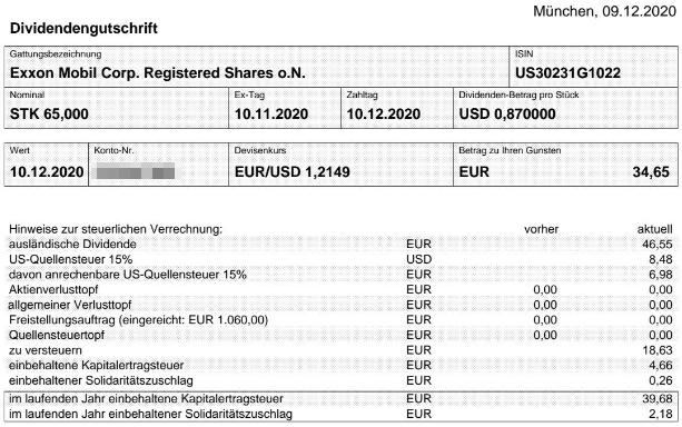 Abrechnung Exxon Mobil Dividende Dezember 2020
