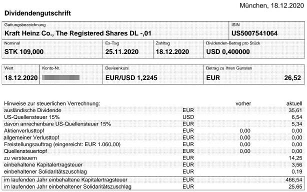 Abrechnung Kraft Heinz Dividende Dezember 2020