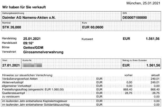 Abrechnung Verkauf Daimler Aktie Januar 2021